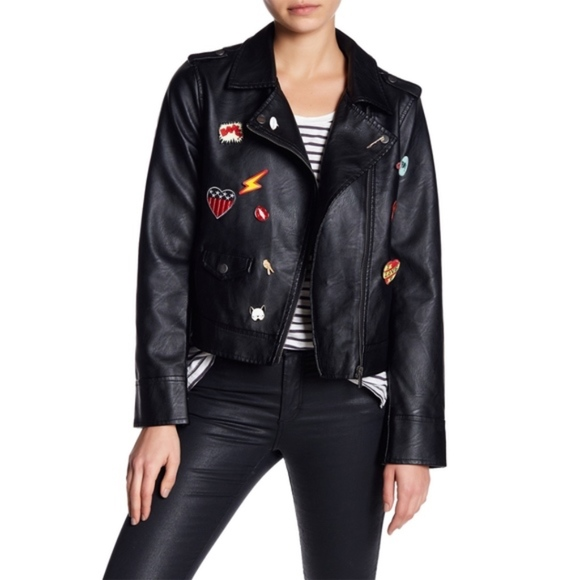 BB Dakota Jackets & Blazers - BB Dakota Ray Pin Patch Faux Leather Jacket Medium